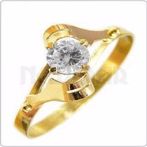 Anillo Hojita Oro Amarillo 18 Kts Con Cubic - An9966 Newmar