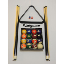 Pool Set Prof. 2 Tacos+juego Bolas+triangulo+2 Tizas