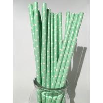 Sorbetes De Papel Estampados Lunares ( Verde Agua Y Blanco)