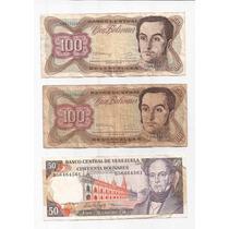 Venezuela Lote De 3 Billetes (2 De 100 Bolivares Y 1 De 50)