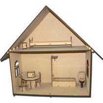 Casa De Muñecas Amueblada Fibrofacil + Pintura Y Pincel