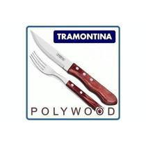 12 Tenedor Recto Cuchillo Jumbo Tramontina Polywood Cerezo