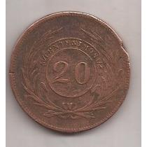 Uruguay Muy Rara 20 Centesimos Año 1840 Alto Valor