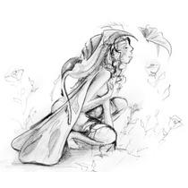 Dibujo De Hada Y Mariposa 30x42cm Para Enmarcar Por Padilla