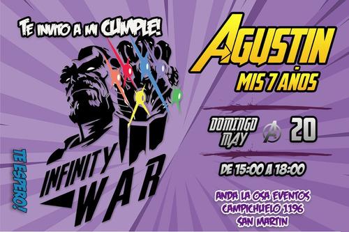 Tarjetas Invitaciones Cumpleaños Avengers X10uni 60 En