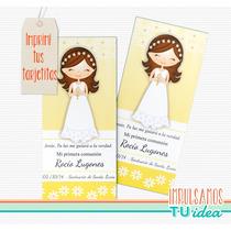 Comunión Nena - Estampita Para Imprimir Con Nenita