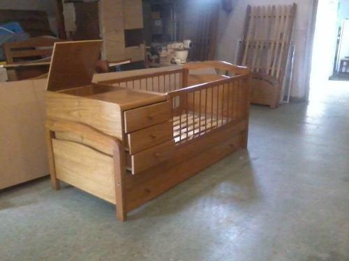 Cuna funcional con cajonera y baulera en madera cama sola - Hacer cuna de madera ...