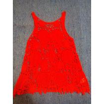 Musculosa Al Crochet En Color Rojo.