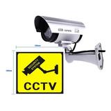 Camara Seguridad Vigilancia Falsa Detector Movimiento Led Intermitente + Cartel Vigilancia