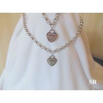 Conjunto Collar Y Pulsera Tiffany Acero Cadena Roló 8 Mm.# #