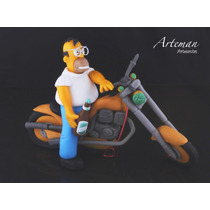 Homero Simpson, En Moto, En Porcelana Fría, Adorno Torta