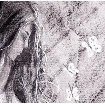 Dibujo A Lápiz Y Carbonilla De Mujer Y Rosa 30x42cm Original
