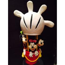 Adorno Torta Mickey, Minnie Y Goofy En El Globo De Mickey
