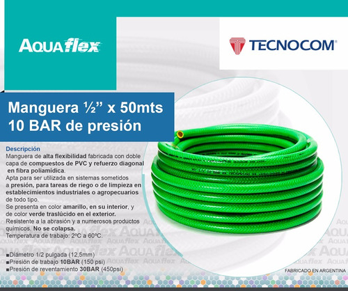 Manguera Riego 10 Bar ½ X 50mts Kit Basico Man1250 Aquaflex