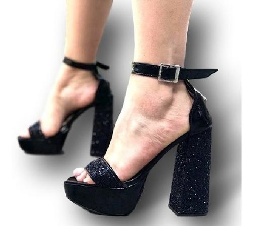 Negro Sandalias Mujer Moda Alto Fiesta Plateado Taco Glitter TFlJcK1