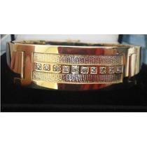 Hermosa Gran Pulsera Oro 18k 66 Gramos Con 10 Diamantes