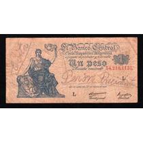 Billete 1 Peso Moneda Nacional Progreso Escrito Peron Evita