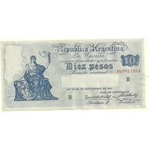 Billete 10 Pesos Caja De Conversion Serie B Excelente