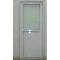 Puerta Aluminio Blanco 1/2 Vidrio Entero 80x200 C/cerradura