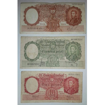 Lote 3 Billetes Argentina 100, 50 Y 10 Pesos Moneda Nacional