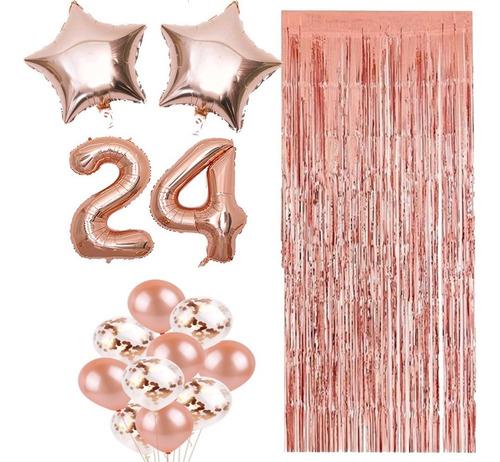 Combo Globos Números 35cm X2+ Cortina+ Confeti Perlados Rosa
