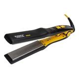 Planchita De Pelo Taiff Titanium 450 Amarilla Y Negra Con Placas De Cerámica 110v/220v
