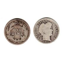 Moneda Plata Estados Unidos Año 1911 10 Centavos Buena