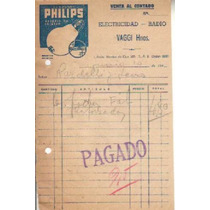Antigua Factura Philips Electricidad Radio Vaggi Hnos