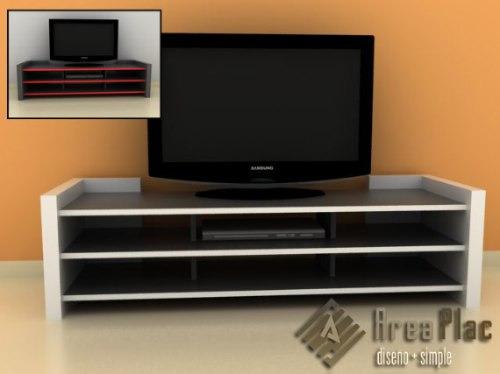 Mesa tv lcd dvd melamina dise o minimalista areaplac for Programa de diseno de muebles de melamina