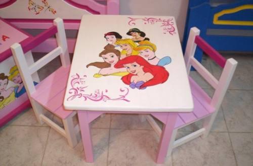 Mesa infantil 2 sillas hidrolaqueado dibujos disney y - Mesas infantiles disney ...