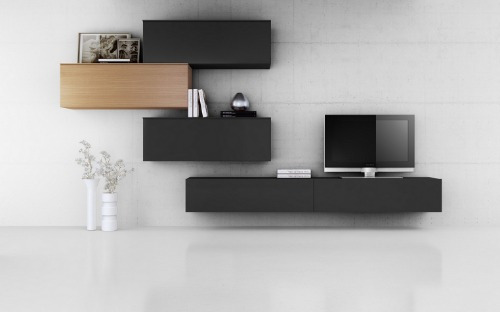Mueble modular moderno panel lcd rack living progetto for Muebles de comedor modernos argentina