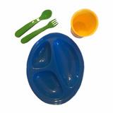 Set Vajilla Plástica Plato - Vaso - Cubiertos - Bebe Colores