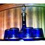 Botellon Licorera 6 Vasos Cristal Murano Azul Cobalto Y Oro