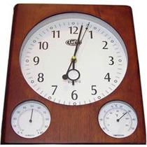 Estacion Reloj Pared Madera Termohigometro Temperatura Nuevo