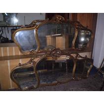 Espejo Grande Frances Luis Xv Tallado Y Dorado (743)
