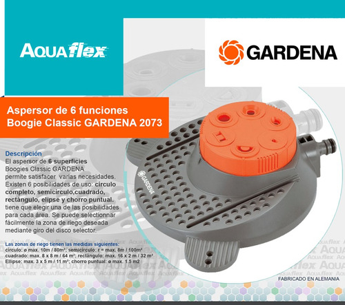 Aspersor 6 Superficies Gardena Boogie Classic 2073 Aquaflex