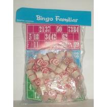 Bingo Loteria Familiar De 12 Cartones + Fichas De Madera