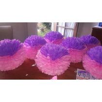 Pompones Y Flores Combinados Papel Seda $ 6