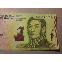 Nuevo Billete 5 Pesos San Martín. Sin Circular