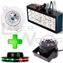 Combo Dj Lámpara Dicroica Rgb, Ovni Led, Mini Bola Y Flash