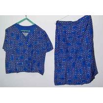 Traje Vestir Seda Natural Estampada Retro Azules Y Blancos