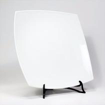 Plato Playo Cuadrado De Porcelana Blanca 25,7cm