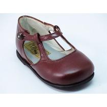 Zapatos Beba-legítimo Cuero Bordó-un Solo Uso-18-19-20