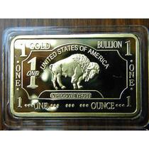Lingote Bañado Oro Buffalo Bar 100 Molinos .999 24k