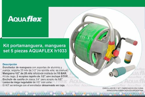 Reel Enrollador Manguera 15m Y Kit De Riego A1033 Aquaflex