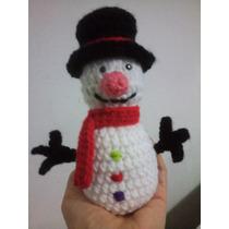 Muñeco De Nieve A Crochet (amigurumis)
