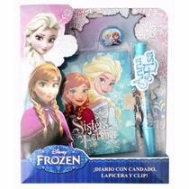 Frozen Diario Con Candado Lapicera Y Clip Anna Elsa Disney