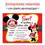 Minnie Rosa Roja 25 Invitaciones Cumple + Cartel De Regalo