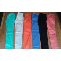 Pantalon Mujer Chupin Elastizado Gabardina Colores
