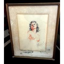 Hermoso Cuadro Pintura Dibujo Pastel Firmado Mujer Desnudo